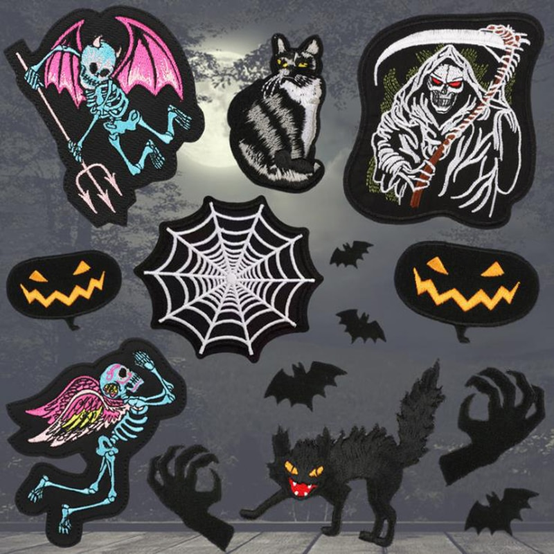Cartoon Death Shead Spider Web Halloween Devil Black Cat Gothic Punk Pentacle Satanic Wicca Witch Paw of Beast Applique Patches