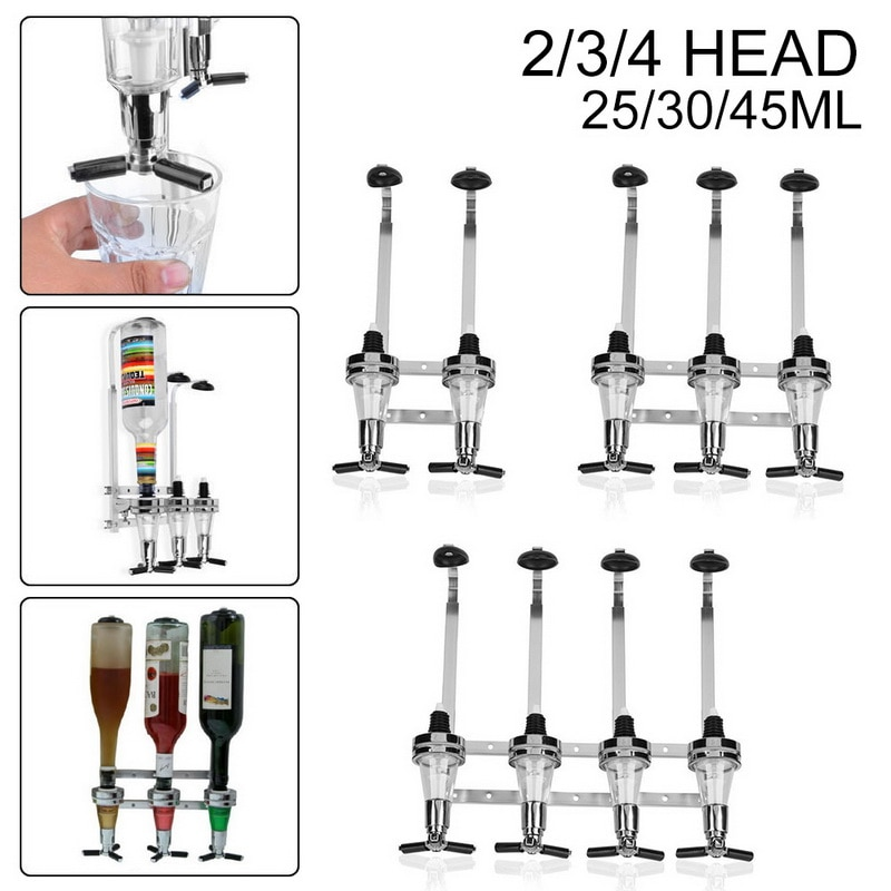 2/3/4-Bottle Drink Liquor Dispenser Stand Drinks Spirits Party Bar Stainless Steel Wall Mount Alcohol Dispenser Kitchen Tools