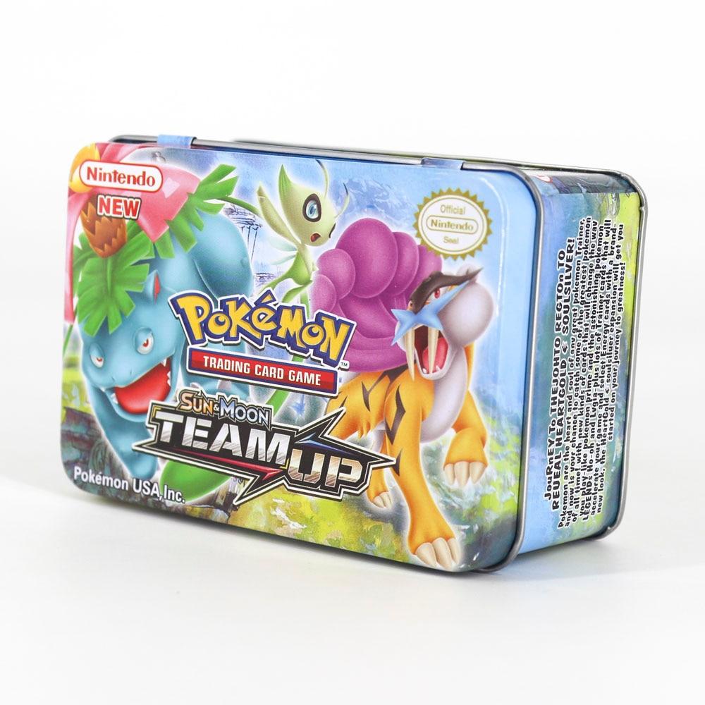 Takara Tomy Pokemon Card MEGA Trainer Energy SUN MOON TEAM UP Collection Board 42pcs Toys Metal Box Flash Card for Kids