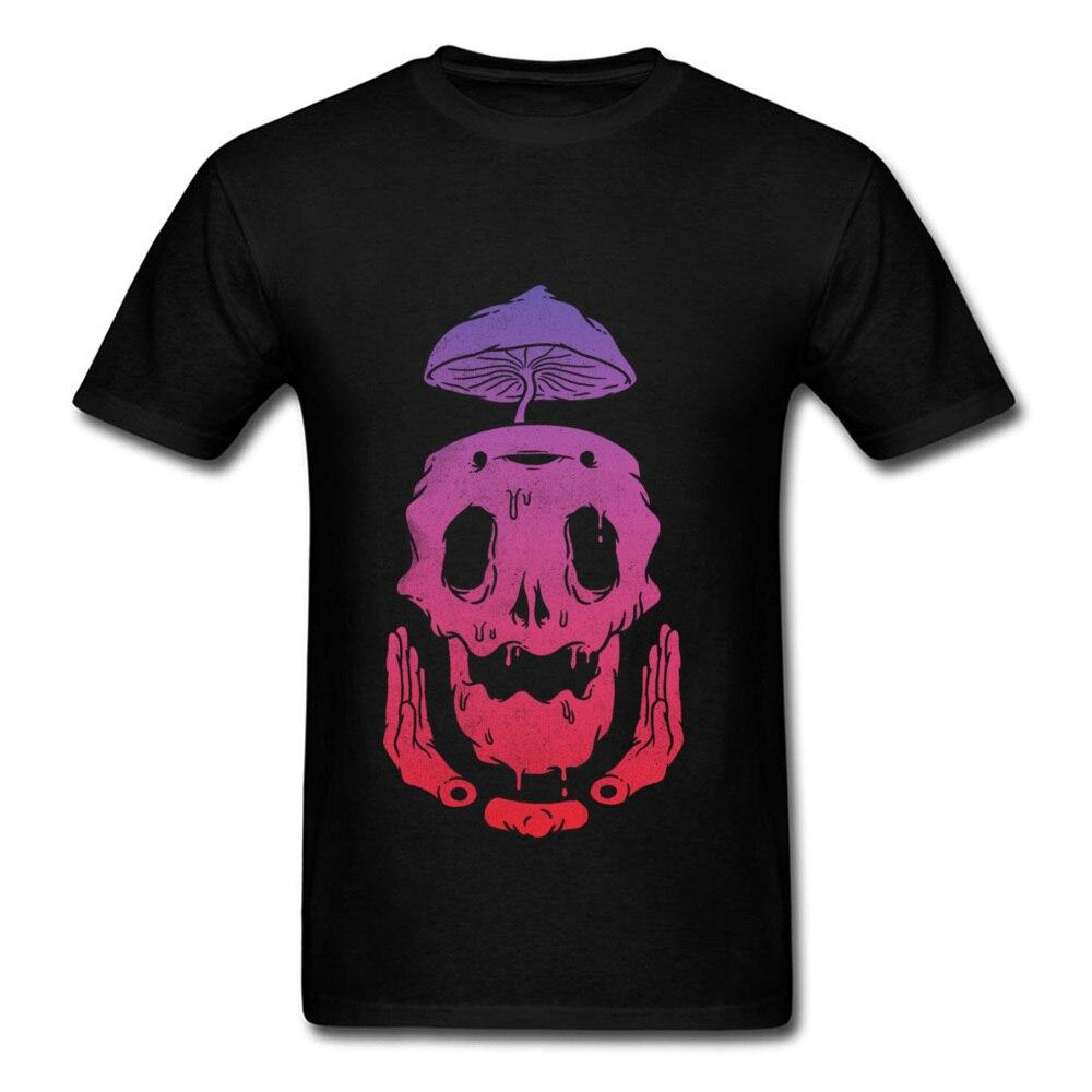 Camiseta psicodélica con estampado de calavera negra para hombre, camiseta de manga corta, Tops de fiesta personalizados para Halloween, tela de algodón con dibujos animados fundidos