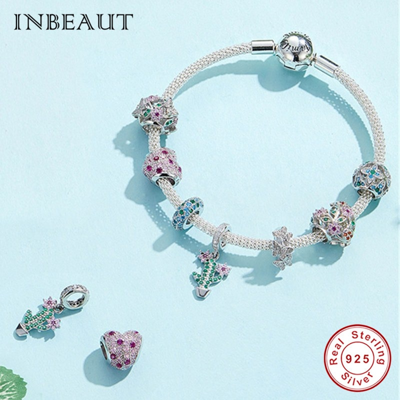 Inbeaut prata esterlina 100%, prata de lei 925, flor, árvore, miçangas, pandora, pulseira rosa & verde cz, flor, cacto, coração encantos