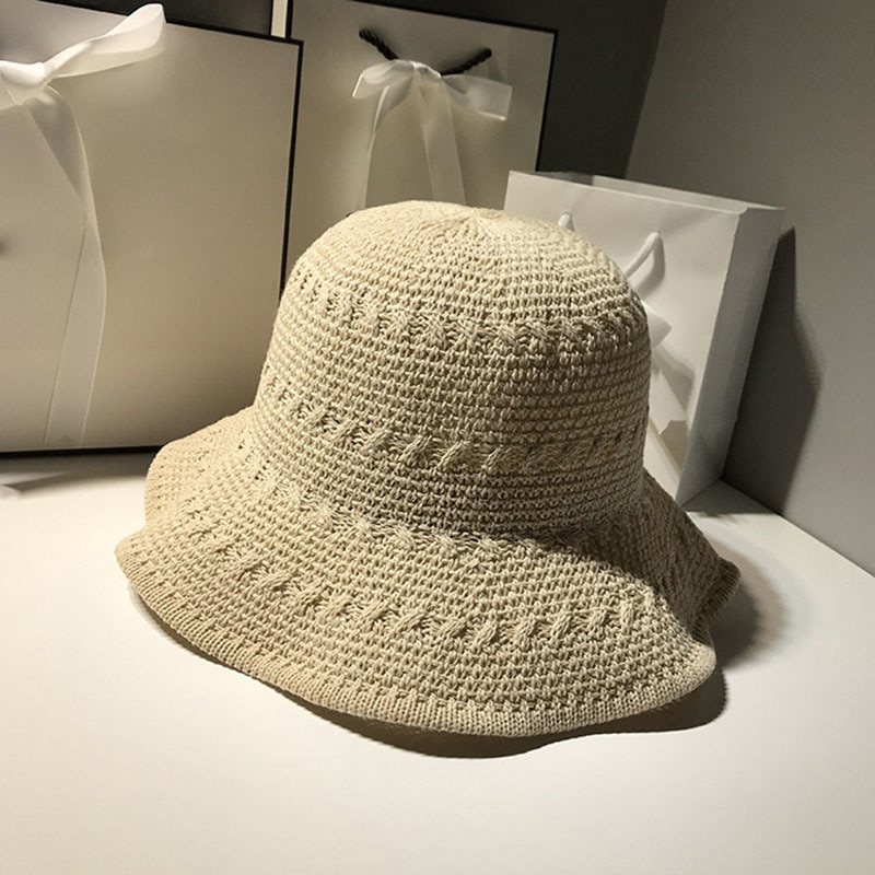 2021 New Women Hat Summer Korean Chic Style Knitted Hollow Breathable Cotton Yarn Basin Hat Leisure Wild Wave Fisherman Hat