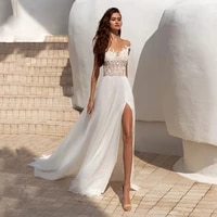 bohemian weddding dresses 2021 sexy high side slit sweetheart off the shoulder lace appliques a line sweep train bridal gown