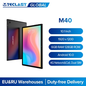 Teclast M40 10.1 ''tablette 1920x1200 IPS 6GB RAM 128GB ROM 4G réseau double SIM Octa Core tablettes PC Android 10 double Wifi type-c