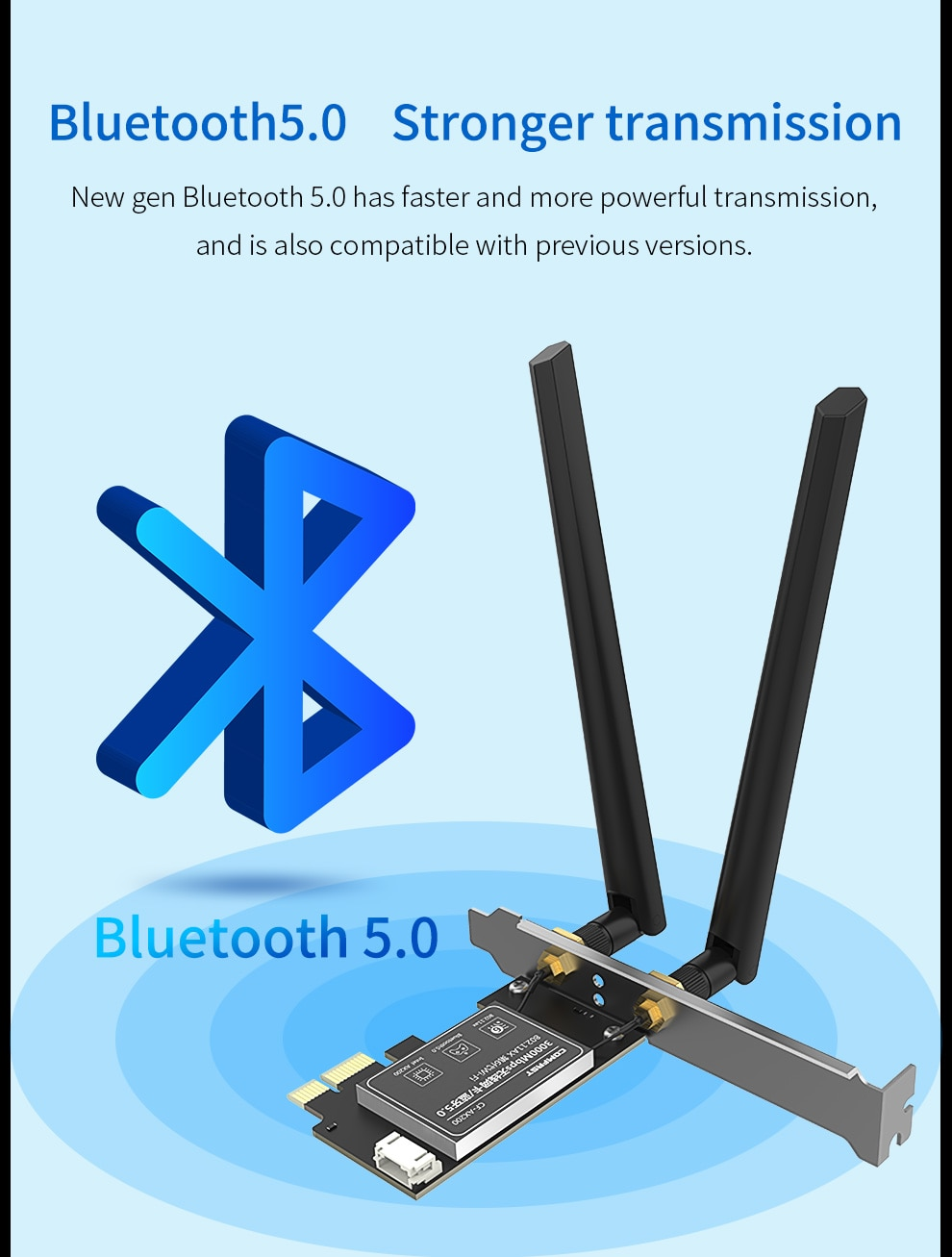 Banda Dual 2400Mbps Wifi 6 AX200NGW PCI-E 1X adaptador inalámbrico 2,4G/5Ghz 802.11ac/ax Bluetooth 5,0 para tarjeta de red AX200 WIFI