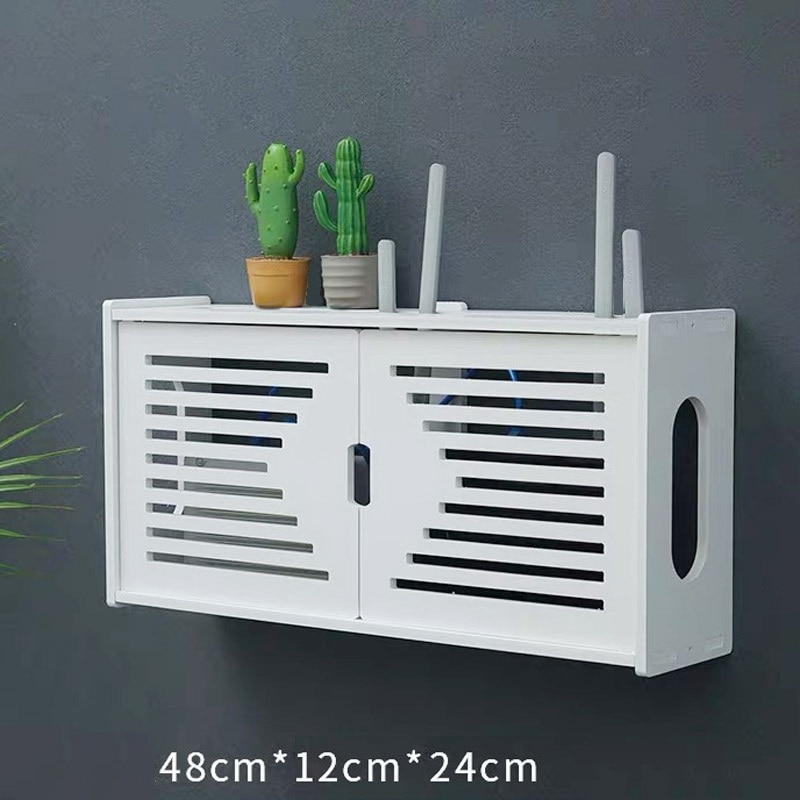 Large Wireless Wifi Router Storage Box PVC panel Shelf Wall Hanging Plug Board Bracket Cable Storage Organizer Home Decor