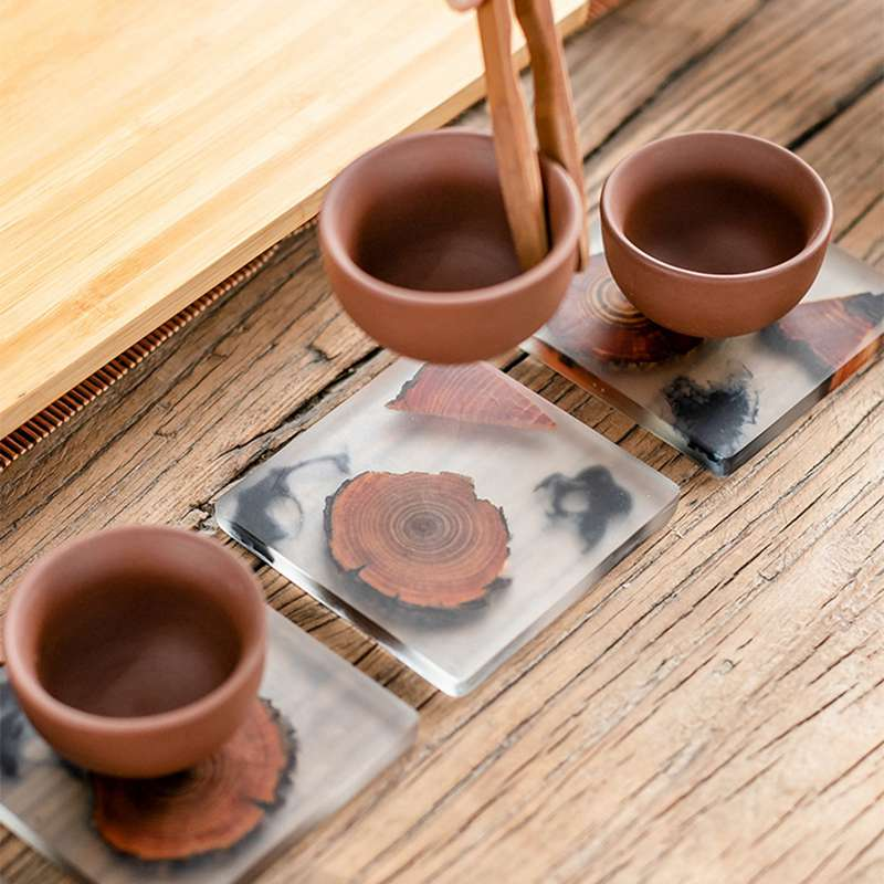 Wooden Resin Placemat Coaster Heat Resistant Bowl Coffee Cup Mat Non-slip Saucer Tea Pad Dining Table Accessories Japanese Style