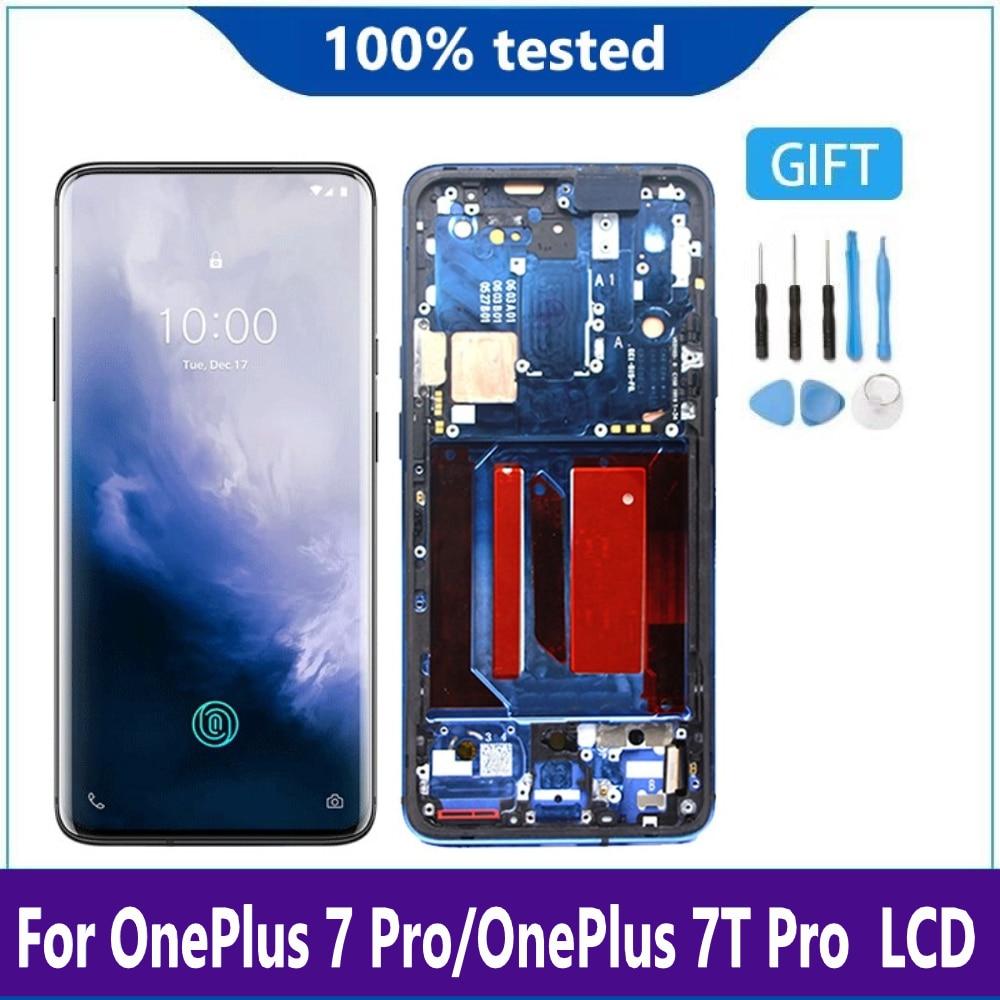 شاشة أموليد لهاتف OnePlus 7t Pro, شاشة AMOLED LCD أصلية مقاس 6.67 بوصة لهاتف OnePlus 7t Pro شاشة لمس رقمية لهاتف OnePlus Seven Pro شاشة LCD مع إطار