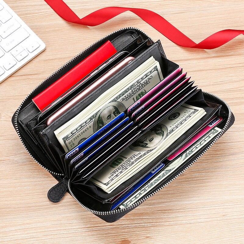 سعة كبيرة حقيقية محفظة جلدية طويلة للرجال النساء تتفاعل حافظة جواز السفر مكتب الأعمال المال محفظة جلد البقر حقيبة صغيرة