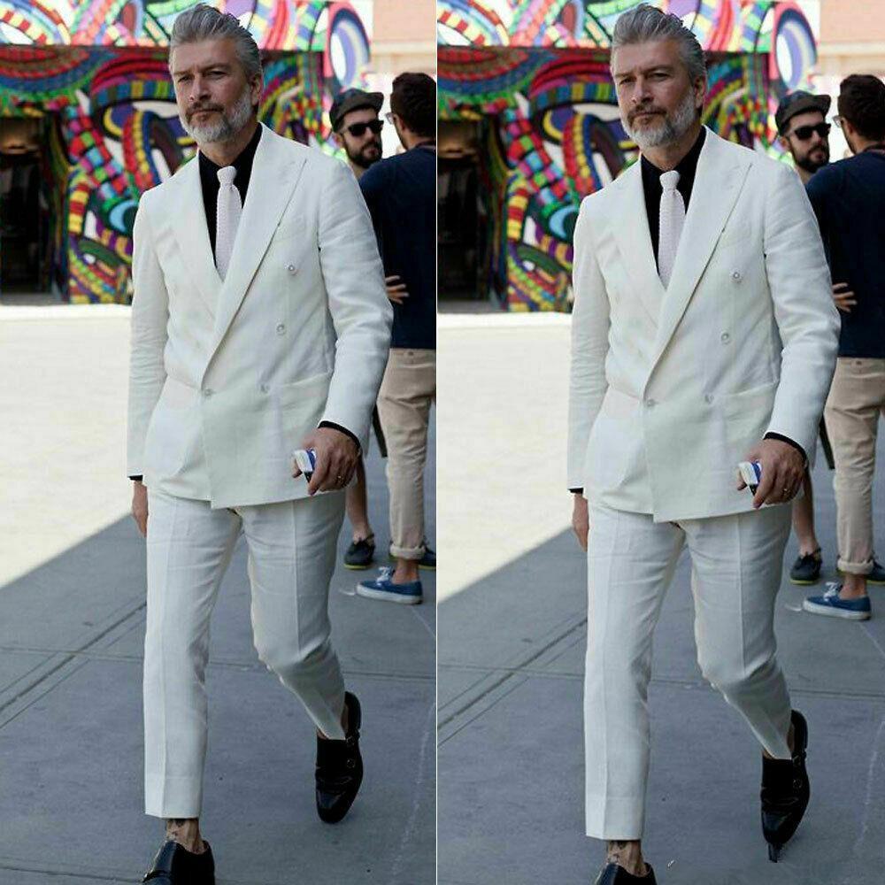 بدلة من الكتان الأبيض مع سترة وسروال للرجال ، ملابس رسمية ، للحفلات الراقصة ، العشاء ، الزفاف ، الصيف
