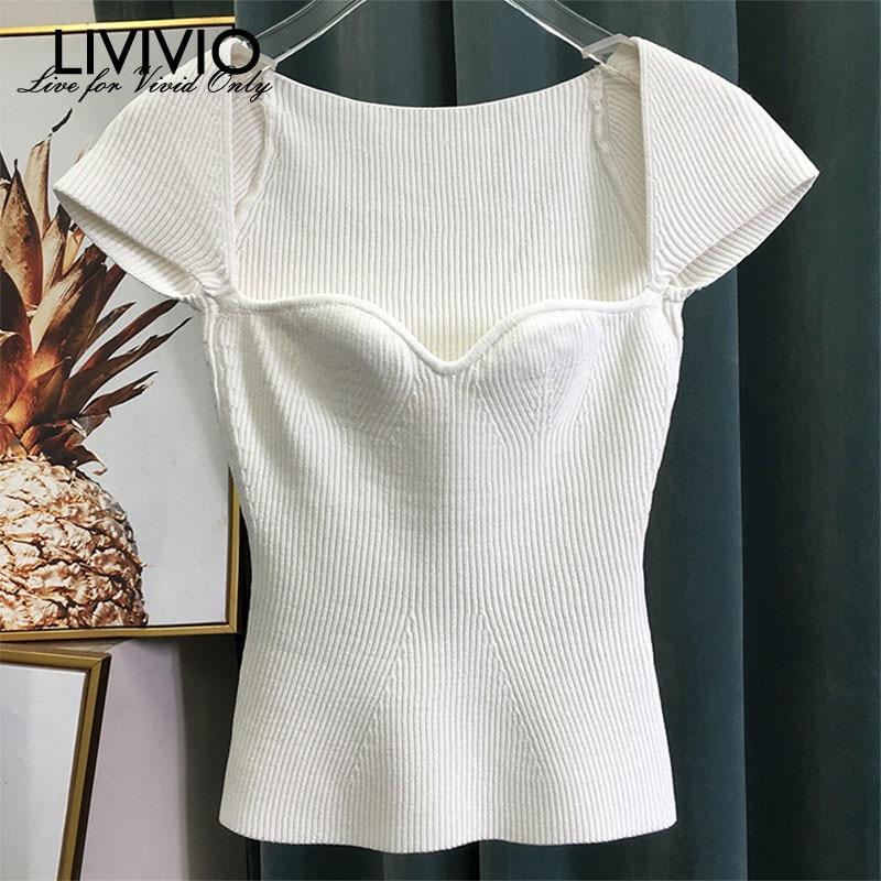[Livivio] casual tricô t camisa feminina gola quadrada manga curta túnica fina camiseta feminina roupas de moda 2020 primavera