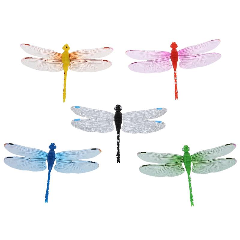 5pcs 8cm 3D Artificial Dragonflies Fridge Magnet for Home Christmas Wedding Decoration, Colors Randomly Send