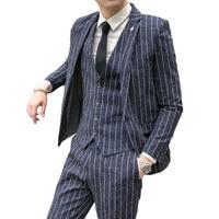 Suit Men\'s Three-piece Suit Korean Youth Handsome British Style Slim Suit Groomsman Groom Wedding Dress Business Casual