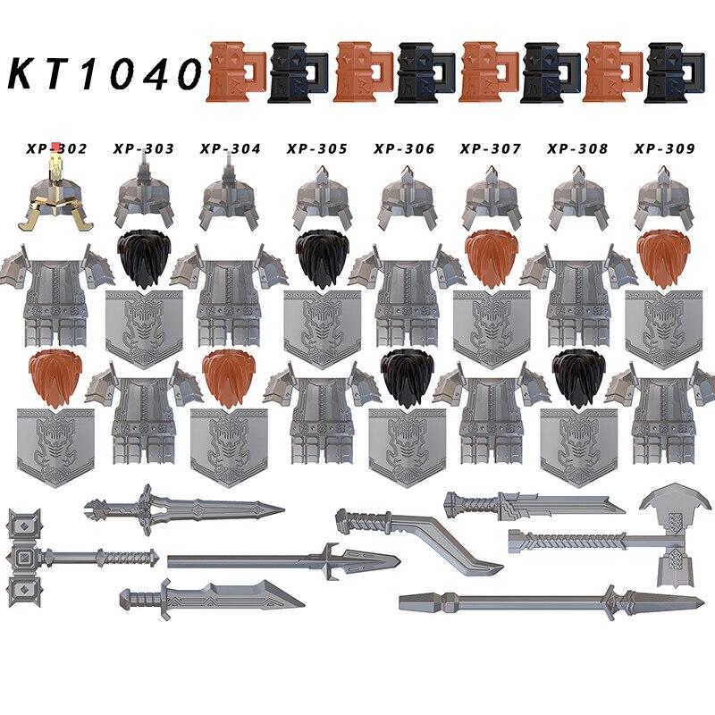 Koruit KT1040 Lord Rings dwarf Dáin Ironfoot helmet armor Medieval Knights brick building block for children toys