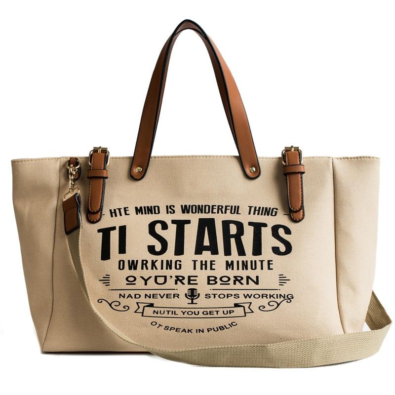 2020 New Women Bag European American Style Canvas Fashion Tote Handbag Ladies Large Capacity Leather Shoulder Messenger Bags