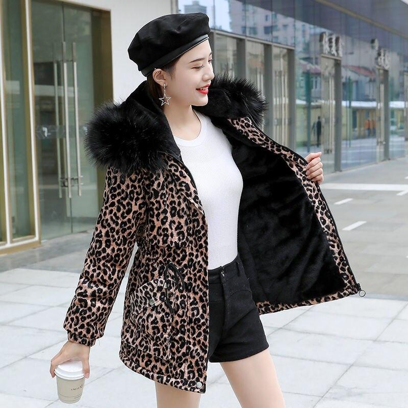 سترة معطف مبطّن من القطن للنساء موضة شتاء 2021 بطبعة الفهد ياقة من الفرو منتصف الطول بقصة ضيقة ومعطف سميك