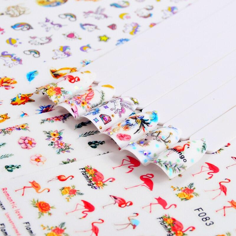5 шт Цветущий цветок Фламинго ожерелье 3D тисненые цветные наклейки на ногти наклейки самоклеющиеся наклейки украшения набор
