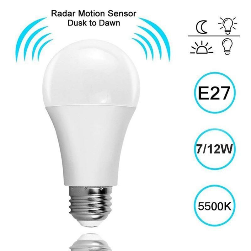 1Pc/5/7/9/12W Luz de bombilla de luz de la noche de E27 lámpara LED con Auto sensible motion sensor 85-265V detección de Radar Dropshipping. Exclusivo.