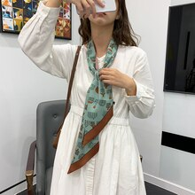 New in Spring and Autumn Women's Chiffon Simple Printed Korean Style Thin Hair Band Arm Bag Strip Sc