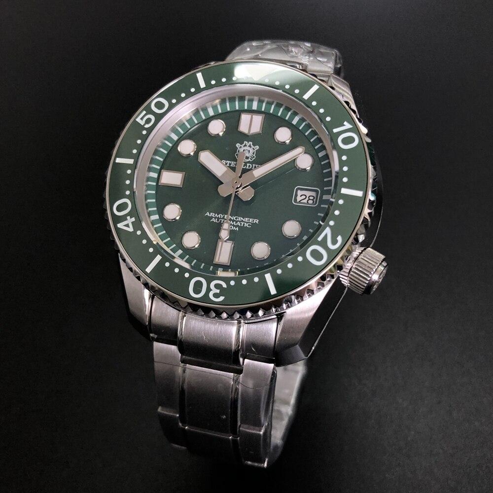 Superior de Luxo Resistência à Água Steeldive Marca Masculino Vidro Safira Nh35 Automático Aço Inoxidável Relógio Sd1968 300m