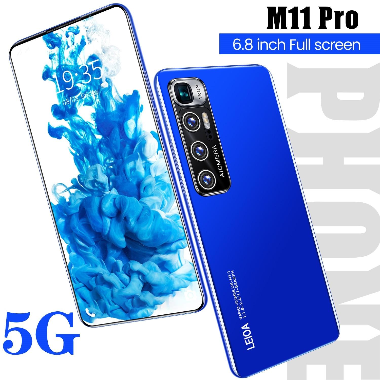 M11 Pro Andriod 10.0 الهواتف المحمولة 6.8 بوصة 128gb/256gb 5600mah عشاري النواة بصمة تحديد 5g شبكة هاتف ذكي