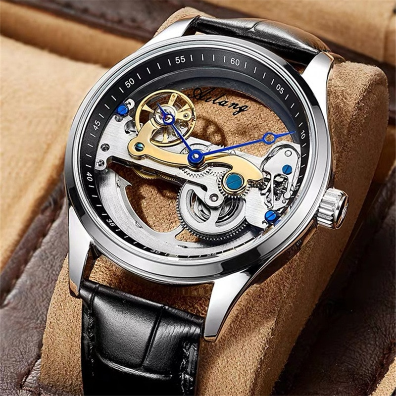 AILANG 2021 New Men's Hollow Tourbillon Business Automatic Watch Mechanical Multifunction Luminous Waterproof Watches 8625