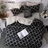 YOMDID – parure de lit motif géométrique 3d ensemble de literie noir et gris avec double impression housse de couette décoration pour chambre à coucher