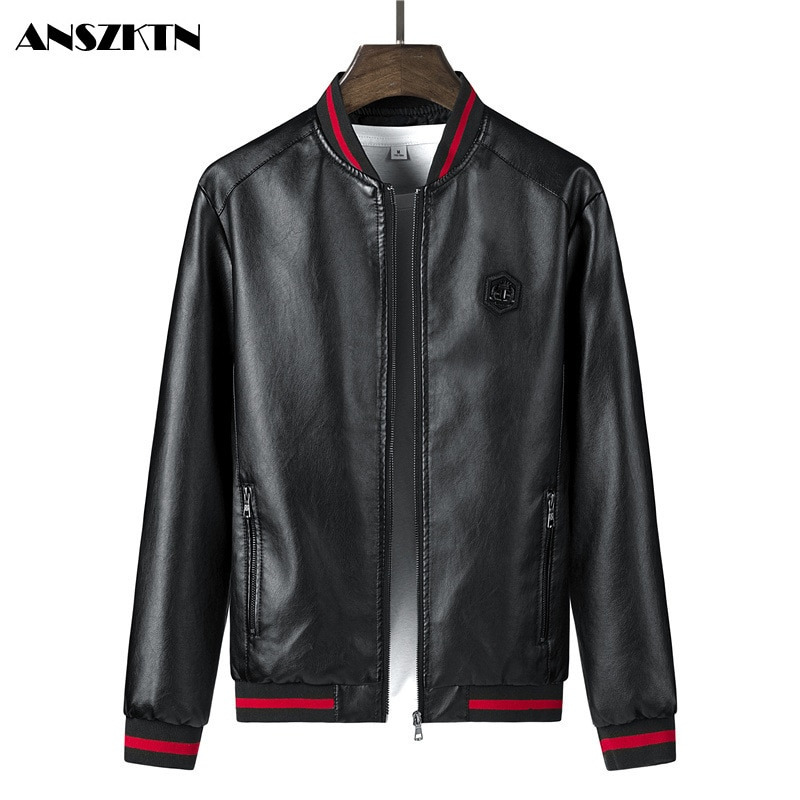 ANSZKTN New Arrivals Men's Slim Fit Leather Jackets Motorcycle Jacket PU Business Thick Warm Winter Biker Coats Windp