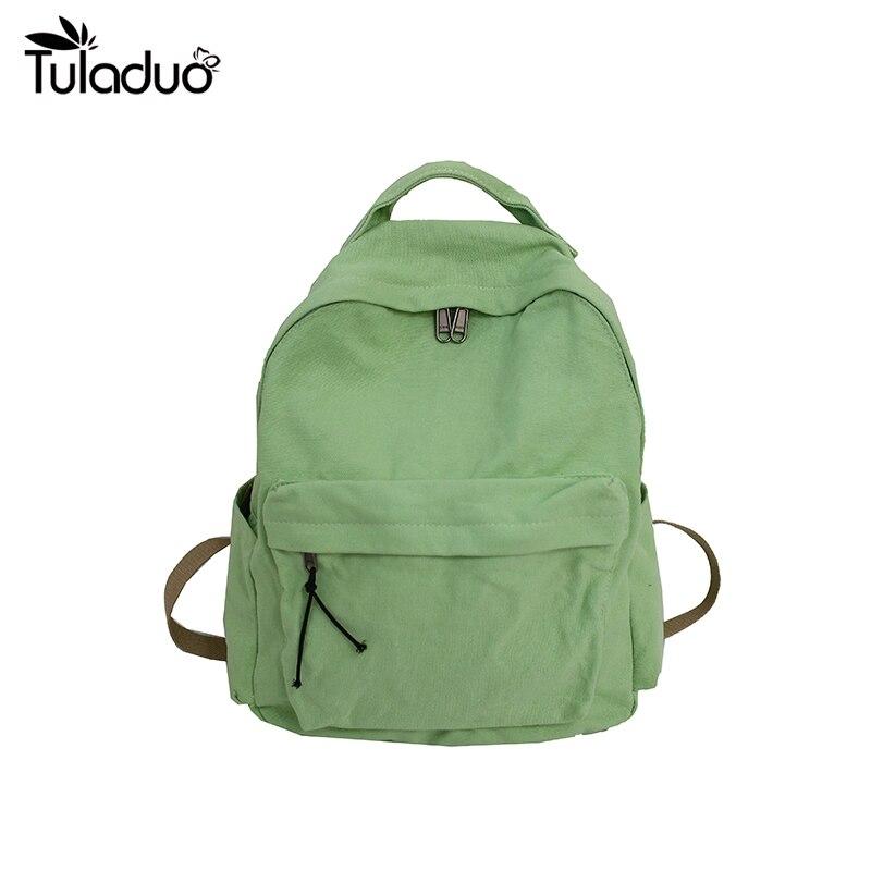 حقيبة ظهر من القماش الكتاني للبنات ، ستة ألوان ، لون الحلوى ، لون عادي ، حقيبة ظهر للبنات ، للحرم الجامعي