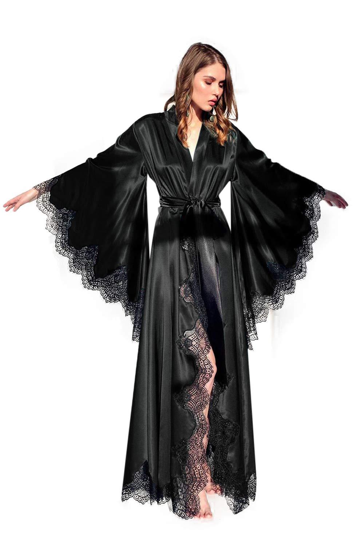 فستان نسائي طويل من الحرير ، بوجر ، دانتيل ، طويل على الأرض ، كيمونو