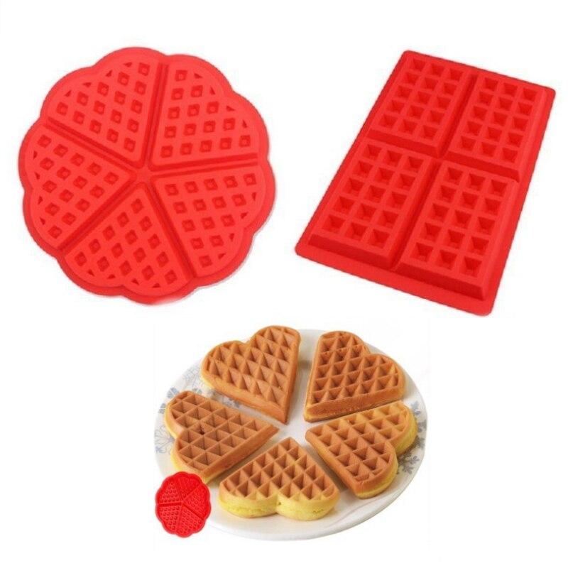 Waffle molde de silicona para el hogar DIY cuadrado forma de corazón Waffle moldes para pasteles Muffin Waffle galleta herramienta de fabricación suministros de repostería para Cocina