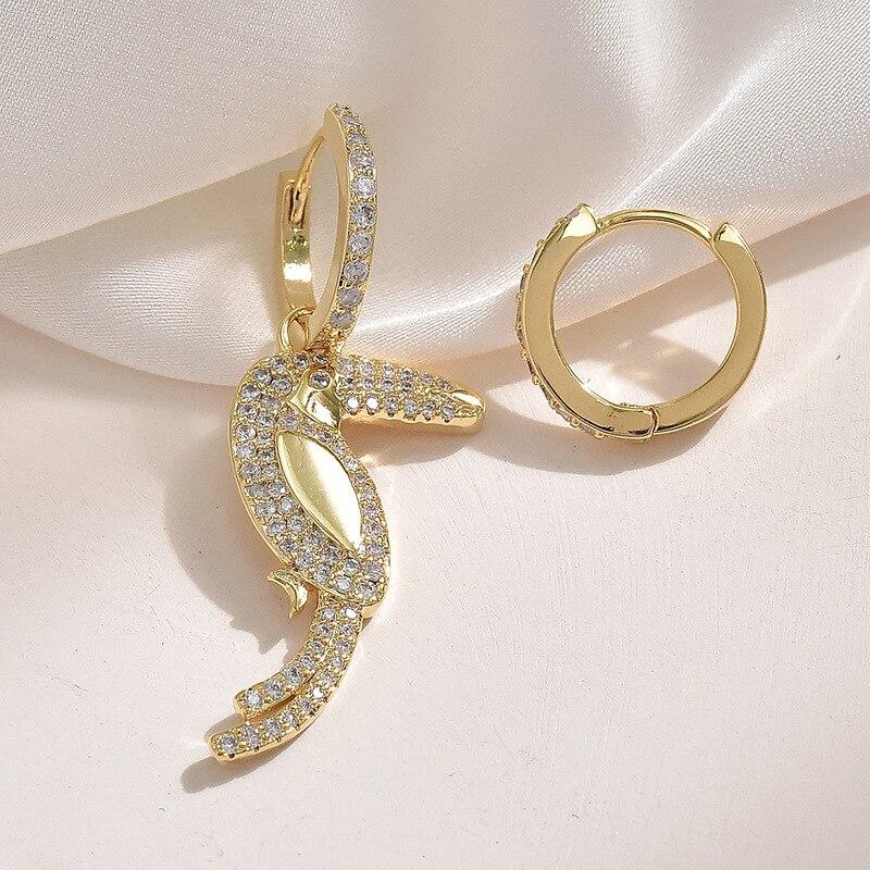 NOVEDAD DE VERANO 2020, pendientes asimétricos de bosque Tropical con diamantes de imitación, pendientes de flamenco loro Tucán, joyería minimalista femenina