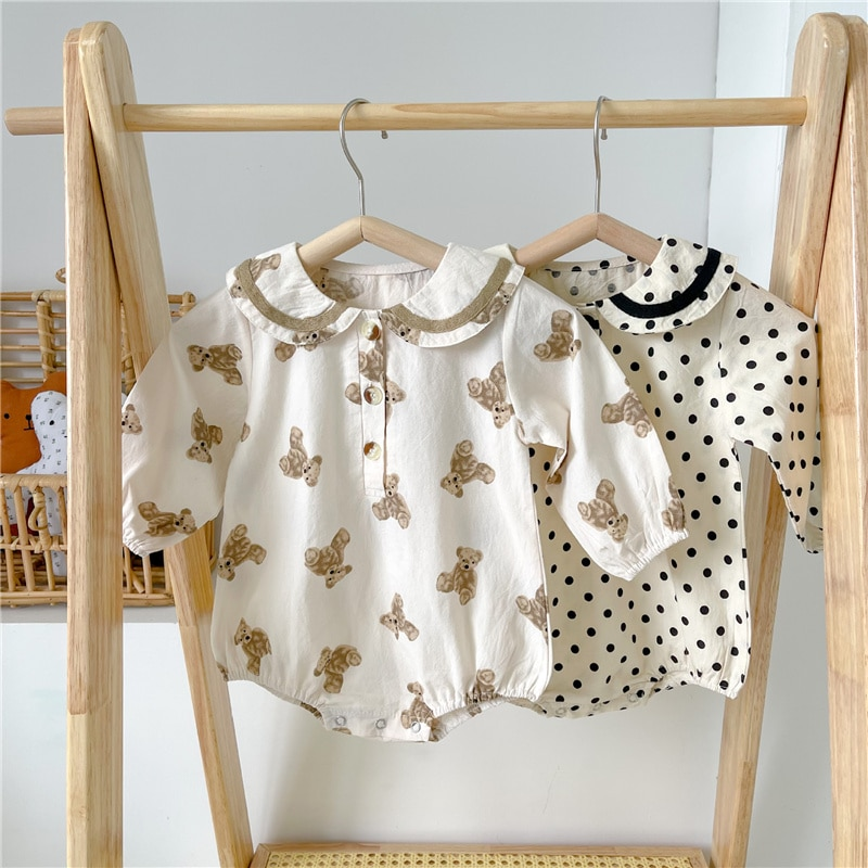 Spring autumn baby clothes cartoon dot long sleeve bodysuits for toddler boys and girls cotton turn-
