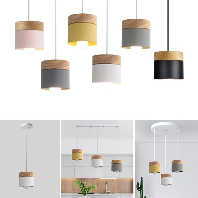 Nordic Simplicity LED E27 Pendant Light Modern Macaron Hanging Lights Home Improvement Decoration Indoor Iron Wood Lamp