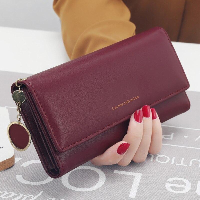 New Fashion Women Wallets Brand Letter Long Tri-fold Wallet Purse Fresh Leather Female Clutch Card H