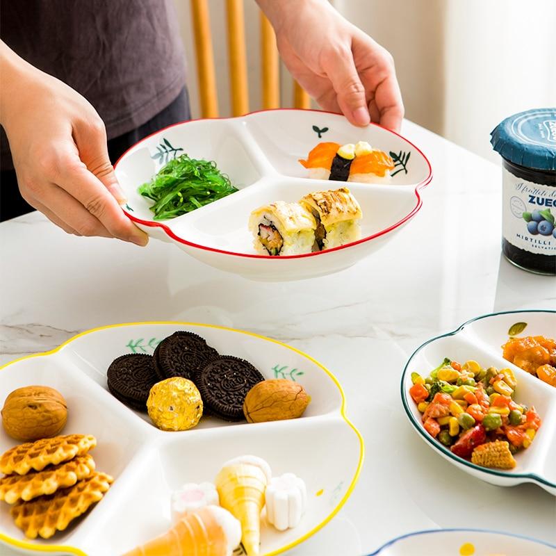 (7 بوصة) الإبداعية السيراميك ثلاثة مقسمة لوحة سلطانية للفاكهة صينية وجبات خفيفة أطباق بورسلين طبق الحلوى