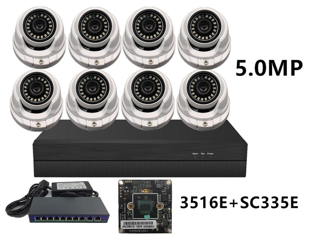 8CH/4CH 5.0MP 4.0MP 3.0MP 2.0MP Sicherheit Kit 2592*1944 2560*1440 XM550 + SC335E NVR 48V PoE Schalter H.265 ONVIF CMS XMEYE P2P Wolke
