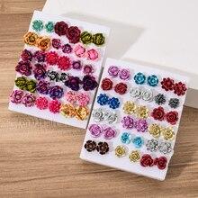 Hot Selling 18 Pair/Set Randomly Resin Flower Stud Earrings Set Mix Styles Cute Small Rose Daisy Ear Stud Girl Gift Jewelry