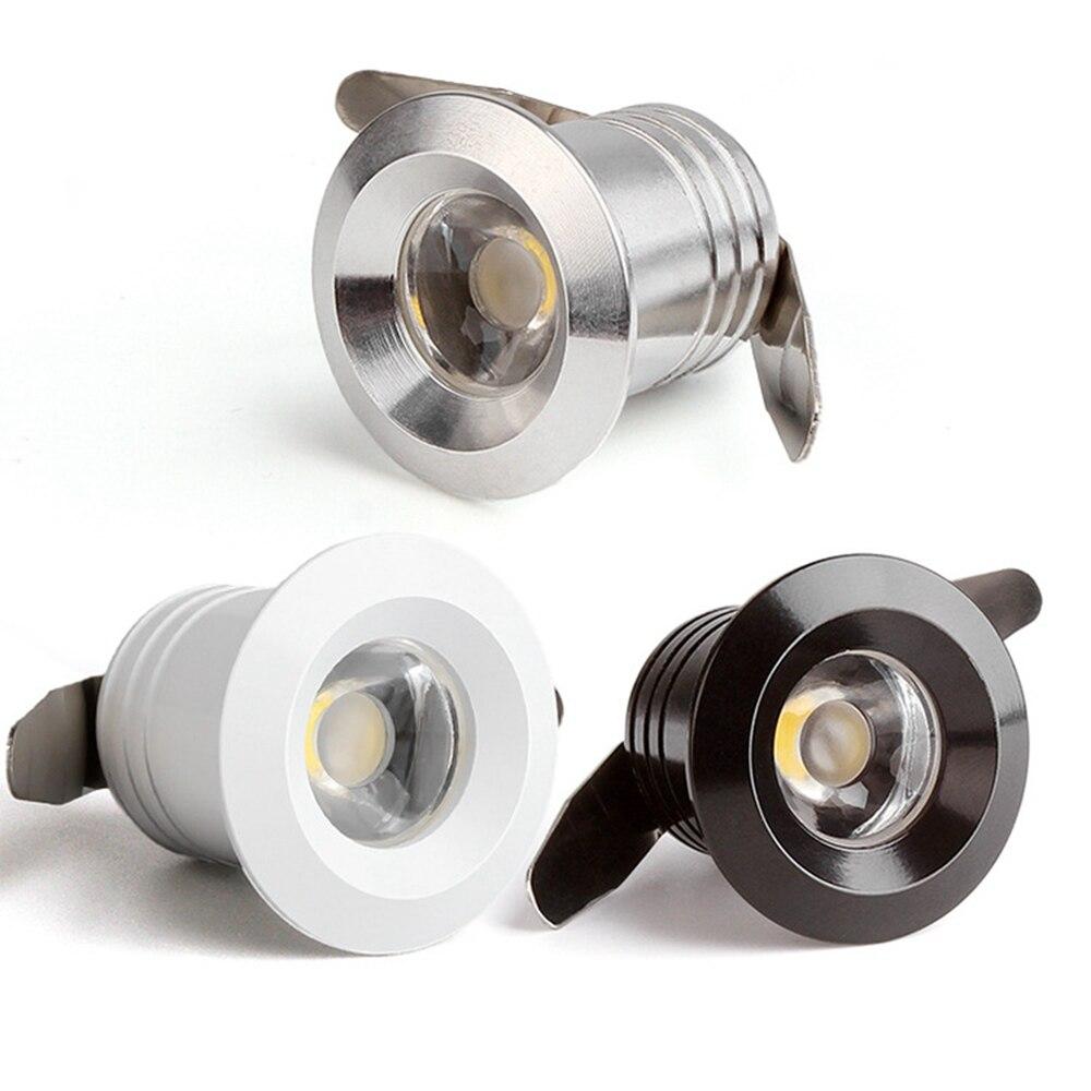 10 قطعة 1 واط بقعة صغيرة LED إضاءة هابطة متراجع أسود/أبيض/رمادي AC85-265 فولت إضاءة الخزانة COB LED سقف بقعة ضوء