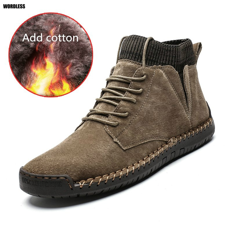 Autumn Winter Mens Casual Ankle Boots Soft Driving Shoes Top Quality Plus Velvet Warm Brand Male Foo