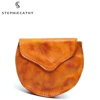 vintage real leather flap coin purse women small round wallet handmade cowhide key case card holder earphone cable storage bag