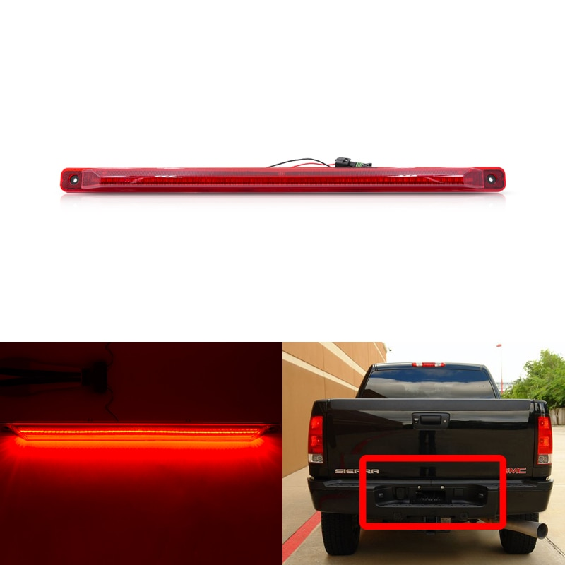 1x se adapta a Chevrolet Silverado 2500HD 3500HD para GMC Sierra 2500HD 3500HD lente roja trasera Led luz trasera de puerta trasera