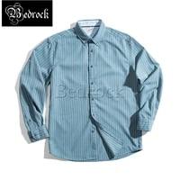 bedrock retro brushed blue pinstripe shirt hong kong style point button lapel thin business slim casual shirt for men