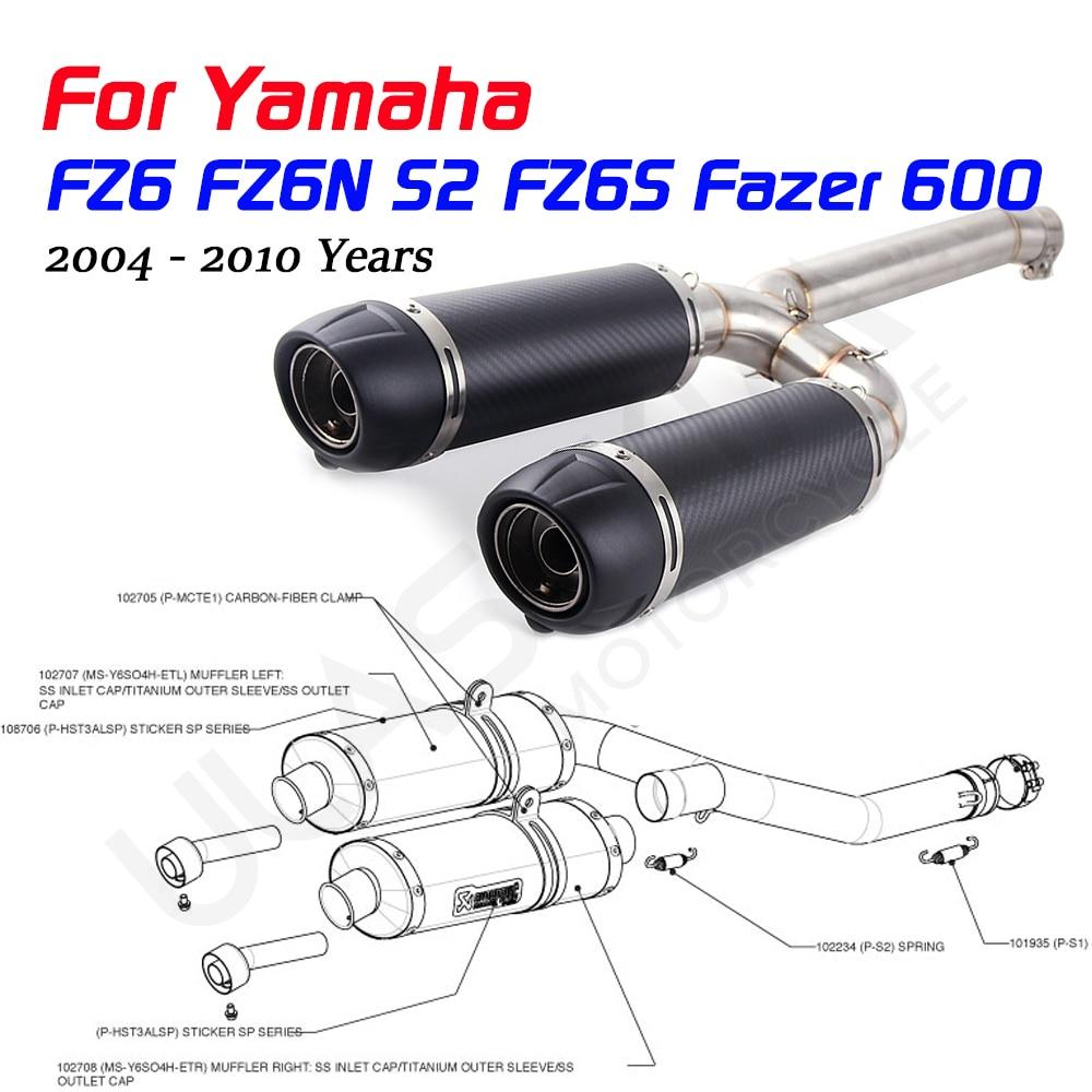 FZ6S FZ6N S2 Fazer600 Motorcycle Exhaust Pipe Full System Slip On For Yamaha FZ-6N FZ-6S FZ6 Fazer 600 Exhaust 2004 - 2010 Years