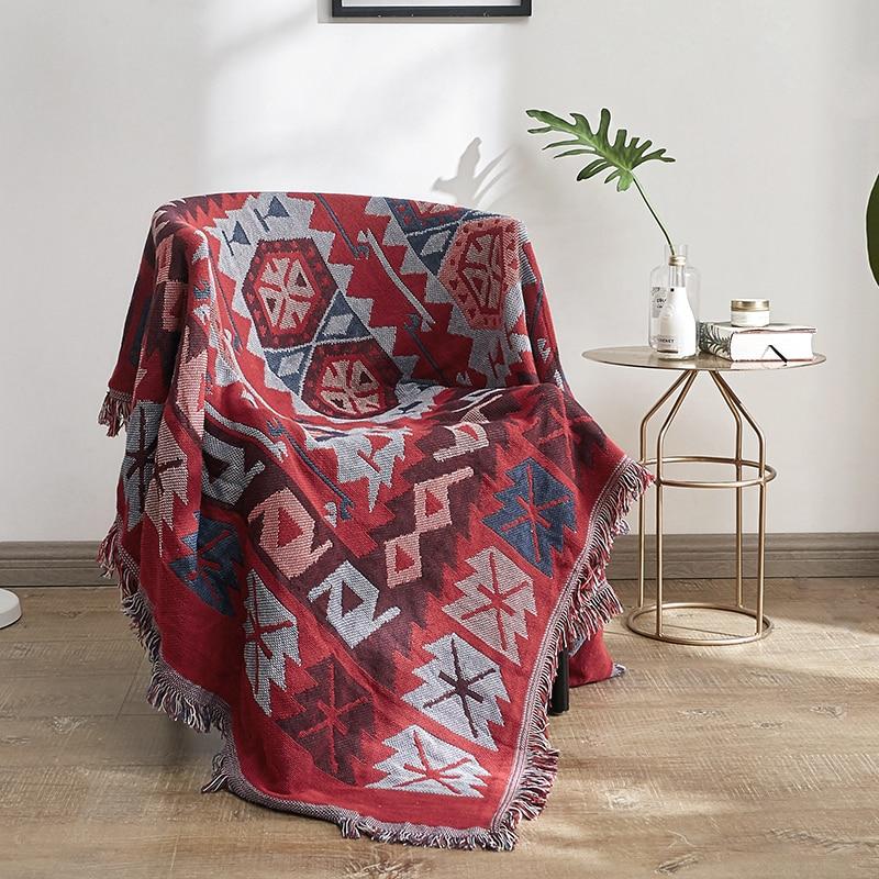 Bohemio estilo rojo sofá manta tiro manta sofá decoración Slipcover para sofá cama avión viaje Plaid tejido antideslizante mantas