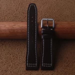 Men's Smooth Genuine Leather Watchband hot for Pilot Mark Watch Strap 20mm 21mm 22mm high quality Dark Brown Belt Bracelet Bands