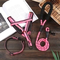 new style pet chest harness dog leash set reflective nylon round rope dog harness three sets of dog leashes for dog accessories