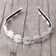 Bandeau élastique en forme de fleur pour filles   Jantes de marguerite blanche, couvre-chef avec chaîne fleurie, accessoires pour cheveux