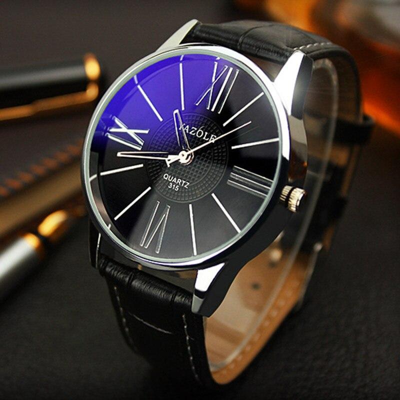 Luxury Watch Fashion Leather Mens Glass Quartz Analog Wristwatch Watches Blu-ray Roman Digital Business new часы мужские 03*