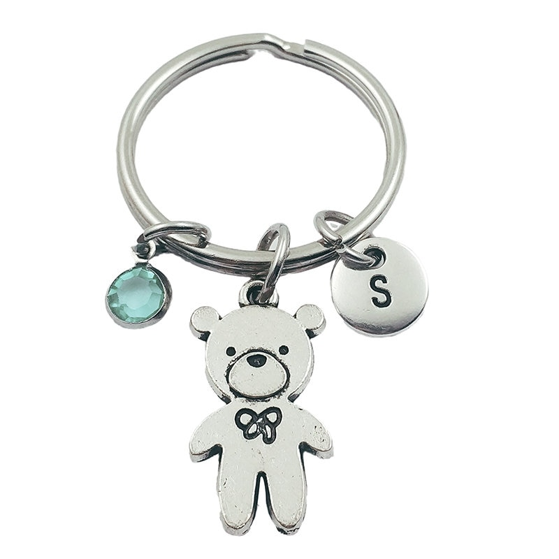 Teddy Bear Initial Letter Monogram Birthstone Keychains Keyring Creative Fashion Jewelry Women Gifts Accessories Pendant
